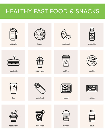 Collection of 16 black icons for healthy fast food or fast casual restaurant or cafe. Black line isolated pictograms for web and print design