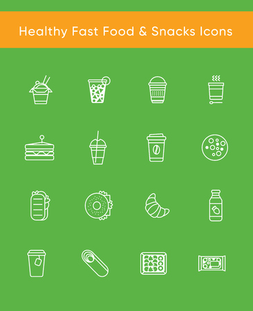 Collection of 16 white vector icons for healthy fast food or fast casual restaurant or cafe. White line isolated pictograms for web and print design