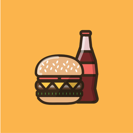 Soda soft drink in a glass bottle and burger sandwich with meet, tomatoes, cheese and salad leaves. Colorful isolated vector icon in flat style with outline for your project