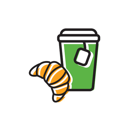 Tea drink in paper cup with cap and tea bag and fresh croissant. Colorful isolated vector icon in flat style with outline for your project Illusztráció