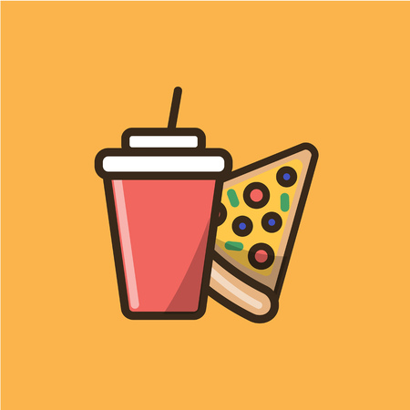 Soda soft drink in a disposable cup with cap and slice of pizza. Colorful isolated vector icon in flat style with outline for your project