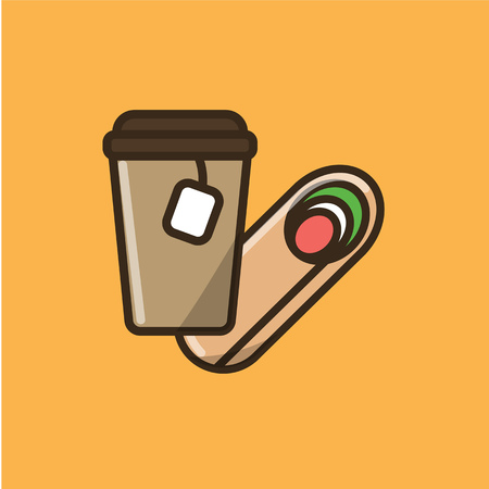 Tea drink in paper cup with cap and tea bag and salad roll. Colorful isolated vector icon in flat style with outline for your project