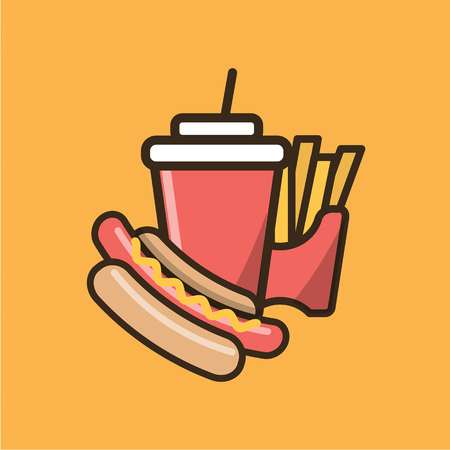 Soda soft drink, french fries and hot dog. Colorful isolated vector icon in flat style with outline for your project