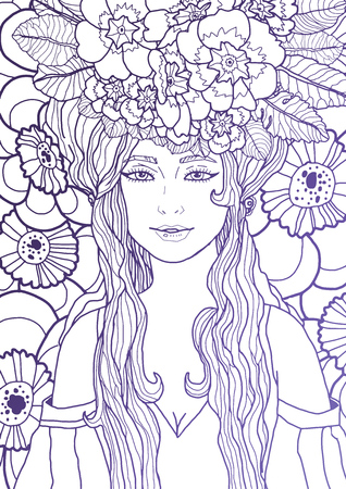Illustration of fairy with long hair in elegant dress surrounded by primula flowers and leaves. Fantasy art with violet outline. Vector illustration for print or web project Ilustração