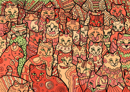 Funny Cyprus cats on doodle background. Hand drawn illustration in zentangle style. Colored vector Illustration
