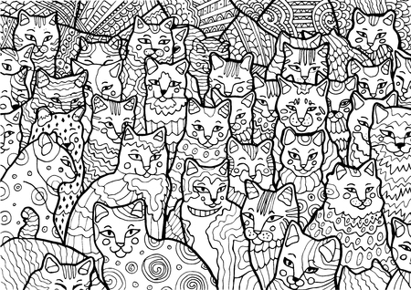 Funny Cyprus cats on doodle background. Hand drawn illustration. Sketch for anti-stress coloring book in zentangle style. Vector illustration for coloring page. Ilustracja