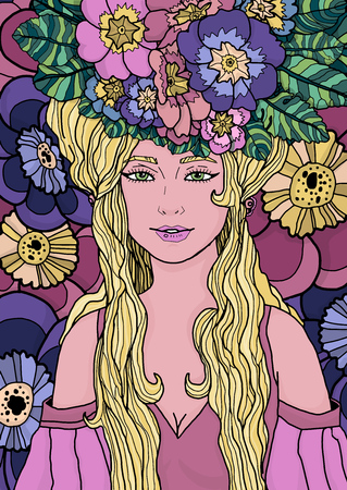 Illustration of fairy with long hair in elegant dress surrounded by primula flowers and leaves. Inspired by art nouveau style. Colorful illustration with black outline  for web and print project
