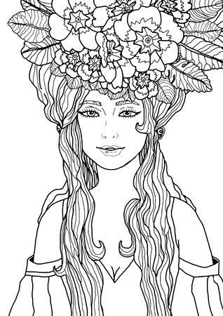 Isolated illustration of fairy with long hair in elegant dress surrounded by primula flowers and leaves. Black and white fantasy art. Vector illustration for coloring page.