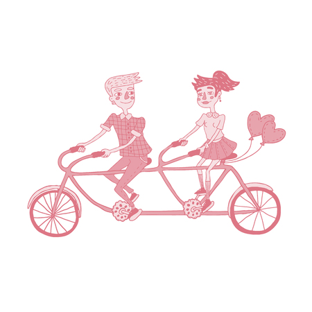 Hand drawing monochromatic illustration depicted happy young couple riding tandem bicycle with balloons in shape of heart. Isolated vector design for Valentine's day in red and blue colors