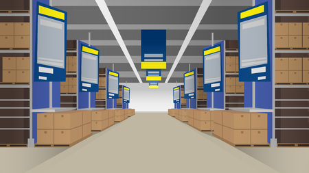 Template illustration of hypermarket inside with empty spaces and shelves for goods. Can be used as backdrop layout in print or web design