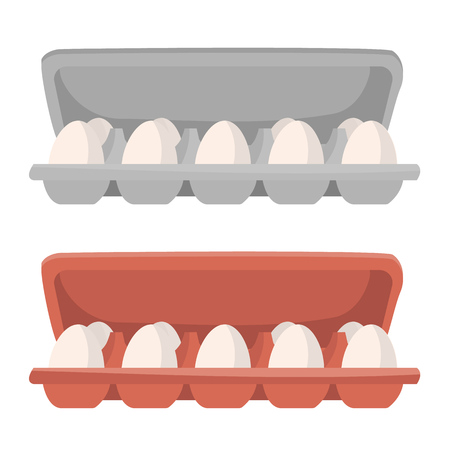 Opened supermarket box package with eggs in two varients of color. Vector isolated object in cartoon style for your design