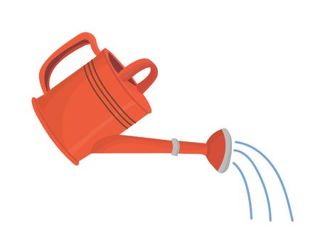 Regadera de jardín roja en uso con ducha de agua. Objeto aislado vectorial en estilo de dibujos animados para su diseño