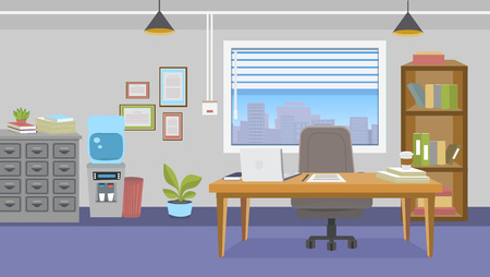 Illustration of office interior with furniture in cartoon style. Cartoon bright background  for your design project