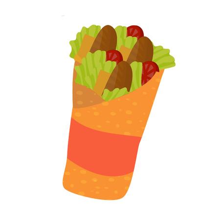 Fast food sandwich (doner kebab or shawarma). Cartoon isolated vector illustration