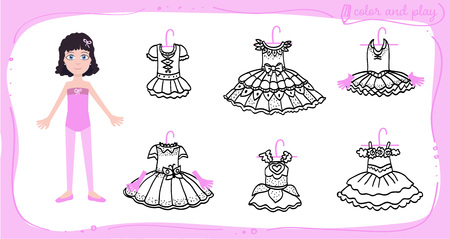 Little ballet dancer. Dress up colored paper doll in cartoon style with ballet tutu. Color, cut and play. Vector illustration for children coloring book  イラスト・ベクター素材