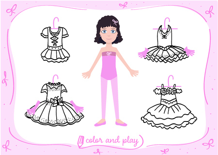 Young girl as little ballet dancer. Dress up paper doll in cartoon style with ballet tutus in black and white. Color, cut and play. Vector illustration for children coloring book Ilustração