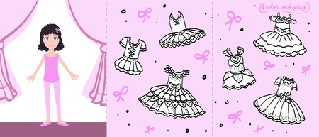 Little ballet dancer on stage. Colored paper doll in cartoon style with black and white ballet tutu for coloring and sticking. Color, cut and play design. Vector illustration for children book