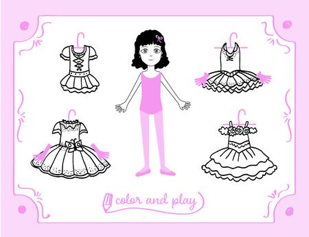 Junges Mädchen als Balletttänzerin. Dress up Papierpuppe im Cartoon-Stil mit Ballett-Tutus. Färben, schneiden und spielen. Schwarze, weiße und rosa Vektorillustration für Kinderbuch