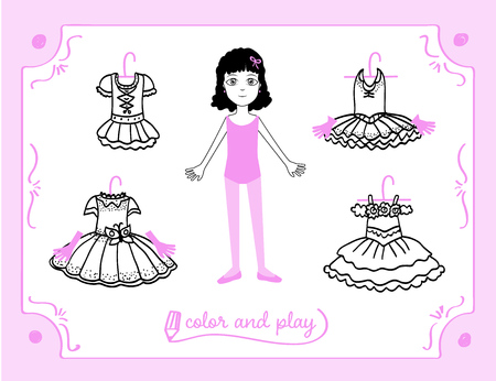 Young girl as ballet dancer. Dress up paper doll in cartoon style with ballet tutus. Color, cut and play.  Black, white and pink vector illustration  for children book Illustration