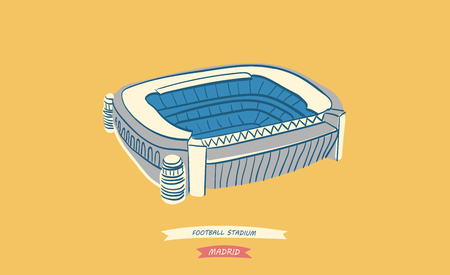 Hand-drawn illustration of the famous spanish football stadium located in Madrid 向量圖像