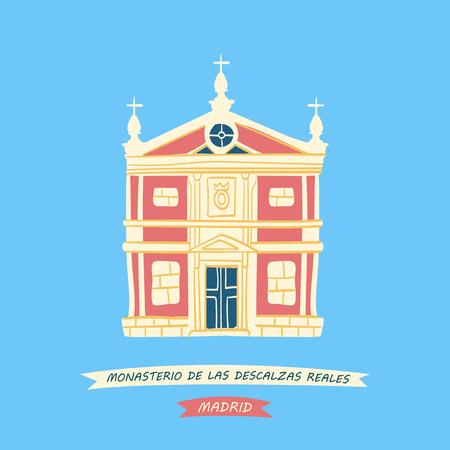 Hand-drawn illustration of the Convent of Las Descalzas Reales (Monasterio  de Las Descalzas Reales) located in Madrid, Spain