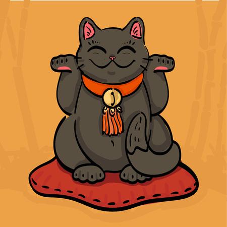 Illustration du chat talisman noir maneki neko faisant signe de la richesse avec les deux pattes levées. Le chat assis sur l'oreiller dans la forêt de bambous. Peut être utilisé comme papier peint (retirer le masque) ou pour la conception d'impression. Vecteurs
