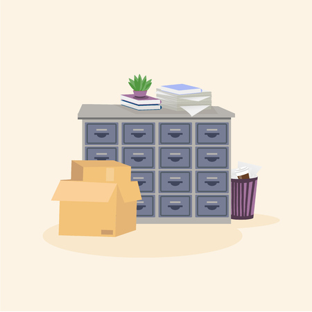 Illustartion of office filing cabinet with potted plant, books and stack of paper on its surface. Image also includes boxes and trash can with rubbish. Vector isolated picture Banque d'images - 126883177