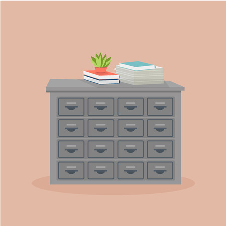 Office  metal filing cabinet with potted plant, books and stack of paper on its surface. Vector isolated picture in flat style Illustration