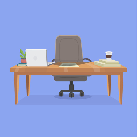 illustration of office working place. Includes: table, twisting office chair on wheels, laptop, potted plant, book, stacks of paper and cup of coffee. Layered isolated vector image for your design project.