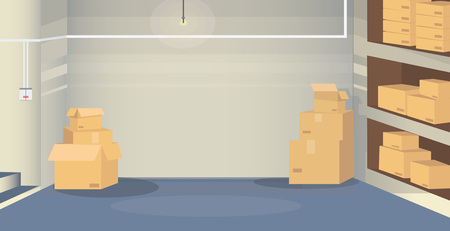 Illustration d'une salle d'entrepôt avec des boîtes situées au sous-sol. Scène de fond pour votre projet de conception. Vecteurs