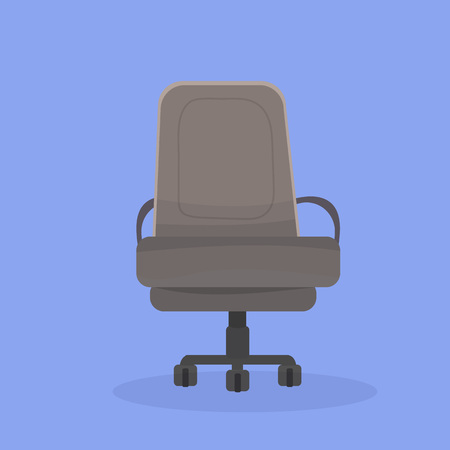 Vector illustration of a twisting office chair on wheels with an elegance brown upholstery seat and backrest on violet background. Isolated object. Front view. Cartoon, flat style