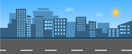 Vector illustration of city skyline with street. Background are blue sky with sun and clouds. Flat style for your design