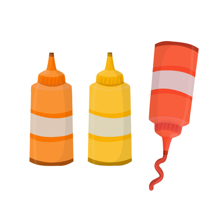 Fast food sauces in bottles (pepper, chilli, mustard, ketchup).  Cartoon isolated vector illustrations Illustration