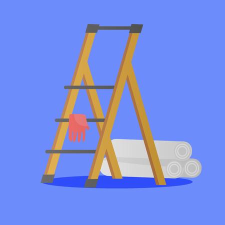 Illustration von Plattformleiter, Handschuh und Tapetenrollen für die Reparatur von Räumlichkeiten. Objekte der Hausreparatur im flachen Stil