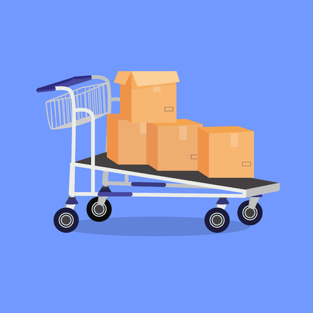 Vector cartoon illustration of hand cart with boxes. Prepared for animation