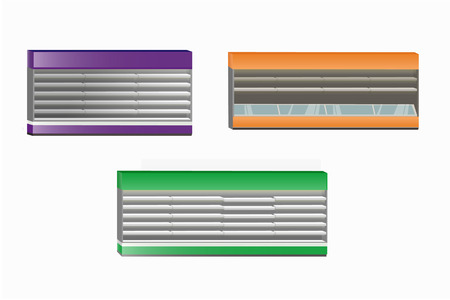 Collection of various empty colored refrigerators with shelves and illumination in side view. Isolated vector objects for your design