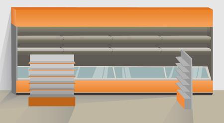 Interior illustration with supermarket empty equipment: showcase display with floor refrigator and illumination and rectangle floor display with banner