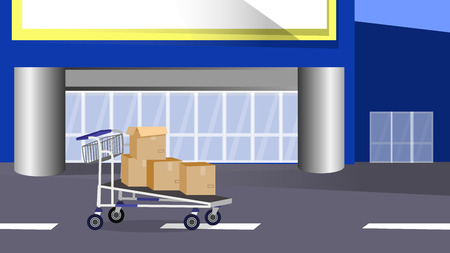 Hand cart with boxes on the street in front of a large shopping center. Layred vector cartoon illustration