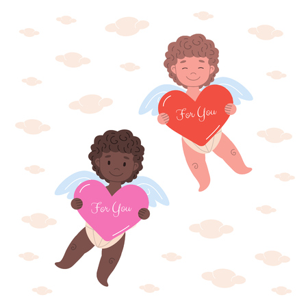 Little european and african cupids  flying in clouds and  holding big hearts with text For You. Flat card illustration design for Valentine's Day and holidays.