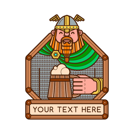 Happy bearded viking holding a wooden mug of beer. Bar or pub logotype