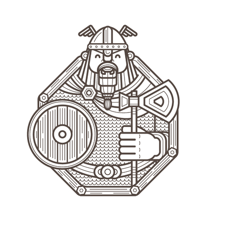 Illustration of happy viking in a helmet and hauberk with a shield and an axe. Outline art in octagon frame.