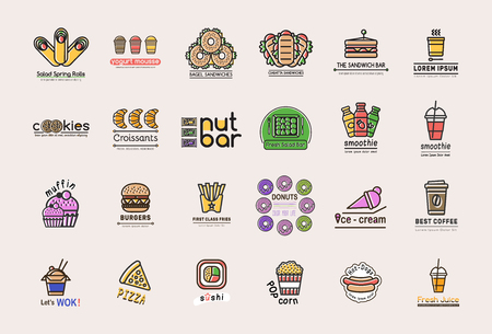 Collection of 24 retro logotype for fast and casual food business. Big set with isolated emblems with print vintage effect for takeaway urban food company