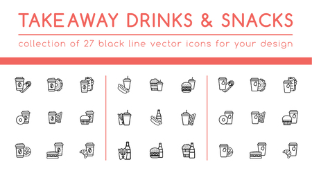 Takeaway drinks and snacks set. Collection special for fast food cafe and restaurants to help to show their special offers. 27 high quality outline double icons for your design project. Can be used for print or web