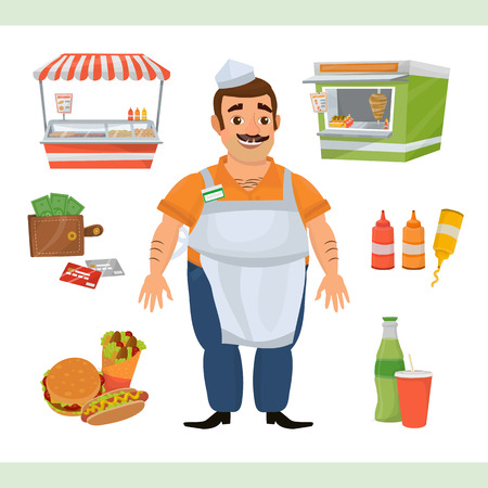 Clipart illustration with street food seller character, two stands with showcases, sandwiches, soda drinks, wallet with cash and credit cards. Иллюстрация