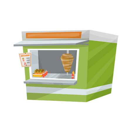 Isolated illustration of kebab or shawarma or doner street stand