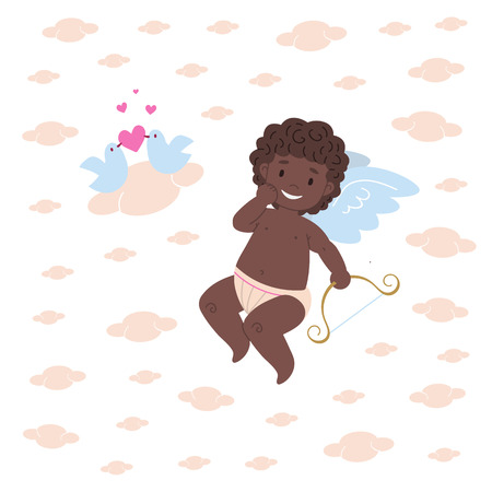 Divertido personaje de Cupido africano travieso que sostiene el arco y admira su trabajo: pájaros que se enamoran. Diseño de ilustración de tarjeta plana para el día de San Valentín y las vacaciones