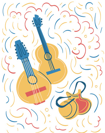 Illustration of spanish national instruments such as guitar, bandurria and castanets