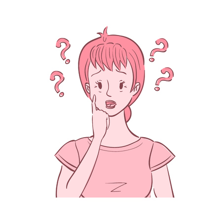 Illustration of middle aged confused woman with questions around her head.She experienced difficulty concentrating  イラスト・ベクター素材