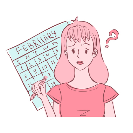 Illustration of confused young woman holding pencil and thinking of her irregular periods.