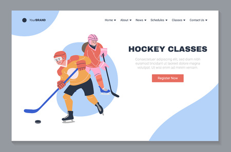 Ice hockey classes landing page template. Website homepage layout with place for your text and vector illustration. Happy teen boy and girl playing hockey game